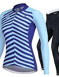 cheap -Nuckily Women's Long Sleeve Cycling Jersey with Tights Blue Bike Sports Lines / Waves Road Bike Cycling Clothing Apparel