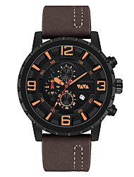 cheap -Men's Dress Watch Quartz Genuine Leather 30 m Water Resistant / Waterproof Calendar / date / day Day Date Analog Fashion Cool - Black Brown Coffee One Year Battery Life