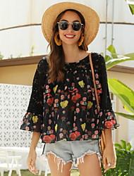 cheap -Women's Floral Blouse Daily Black