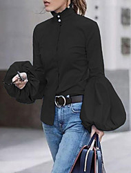 cheap -Women's Blouse Shirt Solid Colored Long Sleeve Round Neck Tops Blue Khaki White