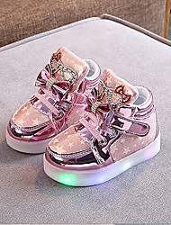cheap -Girls' LED / LED Shoes PU Sneakers LED Shoes Little Kids(4-7ys) / Big Kids(7years +) Walking Shoes Flower / LED / Luminous Pink / Gold / Silver Spring / Summer / Rubber