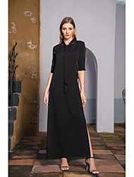 cheap -Women's A-Line Dress Maxi long Dress - Long Sleeve Print Spring Summer Casual Vintage Daily Going out Puff Sleeve 2020 Black S M L