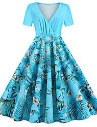 cheap -Women's Swing Dress Midi Dress - Short Sleeves Floral Summer Fall Chinoiserie 2020 Light Blue L XL XXL XXXL