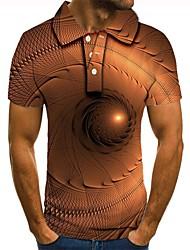 Недорогие -Муж. Графика 3D-печати С принтом Polo Повседневные Хаки / С короткими рукавами