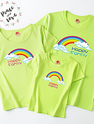 cheap -Family Look Active Basic Rainbow Letter Print Short Sleeve Regular Tee White