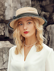 cheap -Elegant Natural Fiber Hats with Floral 1pc Casual / Daily Wear Headpiece