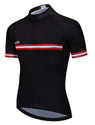 cheap -21Grams Men's Short Sleeve Cycling Jersey Summer Polyester Black / Red Black / Yellow Black / Orange Stripes Solid Color Australia Bike Jersey Top Mountain Bike MTB Road Bike Cycling UV Resistant