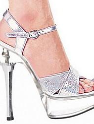 cheap -Women's Sandals Summer Stiletto Heel Peep Toe Wedding PU Silver