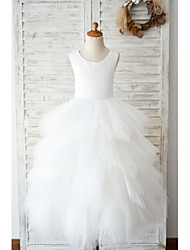 cheap -Ball Gown Floor Length Wedding / Birthday Flower Girl Dresses - Lace / Tulle Sleeveless Jewel Neck with Tiered