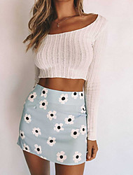 cheap -Women's Bodycon Skirts Floral Blushing Pink Light Blue / Mini / Slim