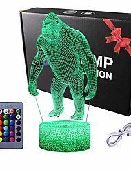 cheap -Night Lights for Kids 3D Orangutan LED Night Lamp 16 Colors Changing Touch Switch USB Power Or Battery Powered Baby Adult Christmas Gift Bar Living Room Bedroom Decor
