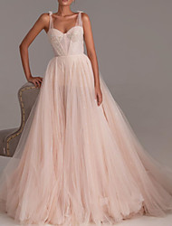 cheap -A-Line Wedding Dresses Sweetheart Neckline Spaghetti Strap Floor Length Lace Tulle 3/4 Length Sleeve Romantic Wedding Dress in Color with Bow(s) 2020