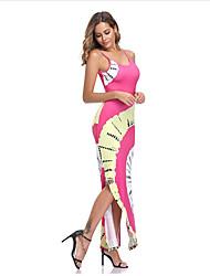 cheap -Women's Cheongsam Dress Maxi long Dress - Sleeveless Print Summer Boho Sexy 2020 Fuchsia S M L XL XXL