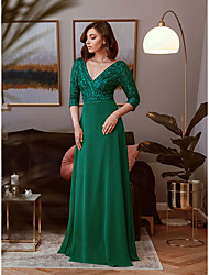 cheap -Sheath / Column Elegant Vintage Engagement Formal Evening Dress V Neck 3/4 Length Sleeve Floor Length Polyester with Sequin 2020