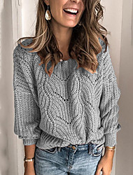 cheap -Women's Solid Colored Pullover Long Sleeve Loose Sweater Cardigans Round Neck Blue Blushing Pink Khaki