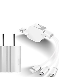cheap -Mini USB Cable 2 A 1.0m(3Ft) Retractable / 1 to 3 TPE USB Cable Adapter For Huawei / Xiaomi / iPhone