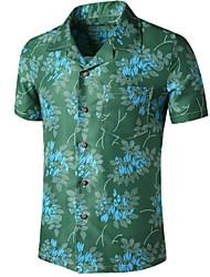 cheap -Men's Graphic Print Shirt Tropical Daily Button Down Collar Green / Short Sleeve
