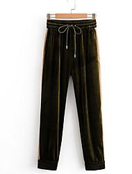 abordables -Femme Basique Chino Pantalon - Couleur Pleine Vert S M L