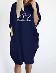 cheap -Women's Mini Shift Dress - Long Sleeve Print Letter Winter Casual Chinoiserie Loose 2020 Wine Black Blushing Pink Army Green Dusty Blue Gray S M L XL XXL XXXL XXXXL XXXXXL