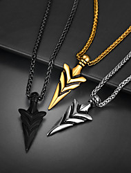cheap -Pendant Necklace Necklace Retro Arrow Statement Fashion Titanium Steel Black Gold Silver 55+5 cm Necklace Jewelry 1pc For Street Birthday Party / Charm Necklace