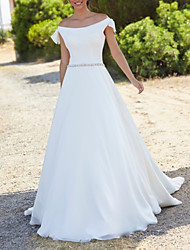 cheap -A-Line Wedding Dresses Off Shoulder Court Train Chiffon Over Satin Short Sleeve Simple with Sashes / Ribbons 2020