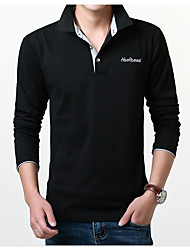 cheap -Men's Plus Size Solid Colored Embroidered Print Slim Polo - Cotton Active Daily Weekend Shirt Collar White / Black / Navy Blue / Gray / Spring / Fall / Long Sleeve