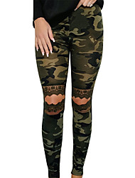 abordables -Femme Basique Quotidien Chino Pantalon - Imprimé Découpé Vert Véronèse S M L