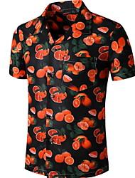 cheap -Men's Fruit Print Shirt Tropical Daily Button Down Collar Black / Short Sleeve