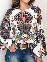 cheap -Women's Floral Lace up Print Shirt Basic White / Blue / Yellow / Orange