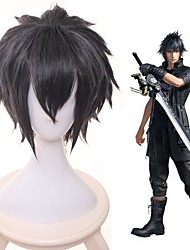 cheap -Cosplay Costume Wig Cosplay Wig Noctis Lucis Caelum Final Fantasy XV Straight Layered Haircut Wig Short Black Synthetic Hair 14 inch Women's Anime Cosplay Cool Black