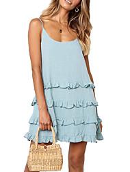 cheap -Women's Strap Dress Short Mini Dress - Sleeveless Solid Color Ruffle Spring Summer Casual Holiday 2020 White Black Blushing Pink Light Blue S M L XL