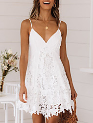 cheap -Women's Strap Dress Short Mini Dress - Sleeveless Clothing Summer V Neck Hot Sexy Holiday vacation dresses Lace 2020 White S M L XL XXL 3XL