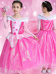 cheap -Princess Sleeping beauty Aurora Dress Flower Girl Dress Girls' Movie Cosplay A-Line Slip Vacation Dress Pink Dress Children's Day Masquerade Tulle Polyester