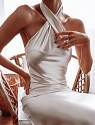 Недорогие -женское атласное платье недоуздок