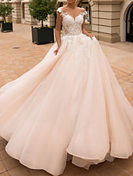 cheap -Ball Gown A-Line Wedding Dresses Off Shoulder Court Train Lace Satin Tulle Short Sleeve Vintage Sexy Wedding Dress in Color See-Through Backless with Embroidery Appliques 2021