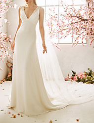 cheap -Mermaid / Trumpet Wedding Dresses V Neck Sweep / Brush Train Chiffon Satin Sleeveless Vintage Sexy Wedding Dress in Color Backless with Embroidery Appliques 2021