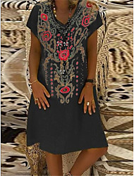 cheap -Women's Shift Dress Knee Length Dress - Short Sleeves Tribal Print Summer V Neck Casual Daily Loose 2020 Black Yellow Fuchsia Orange Green S M L XL XXL XXXL