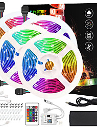 cheap -Intelligent Dimming App Control Flexible Led Strip Lights 65ft 4x5M 5050 RGB SMD 600 LEDs IR 24 Key Controller with Installation Package 12V 8A Adapter Kit