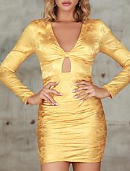 Недорогие -женское платье с v-образным вырезом с длинным рукавом и вышивкой с цветочным принтом mm0215