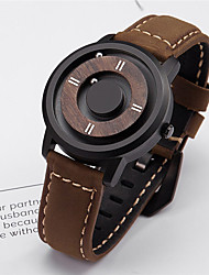 cheap -Men's Sport Watch Japanese Quartz Genuine Leather Day Date Analog Fashion Cool - Black Brown One Year Battery Life