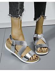 cheap -Women's Sandals Wedge Sandals Flat Sandal Summer Wedge Heel Peep Toe Daily PU Black / Gold / Silver