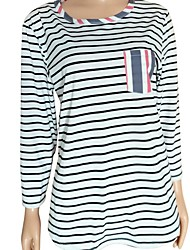 זול -בגדי ריקוד נשים פסים חולצה - טלאים צווארון עגול בסיסי יומי אביב סתיו פול S M L XL