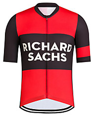 cheap -21Grams Men's Short Sleeve Cycling Jersey Black / Red Bike Jersey Top Mountain Bike MTB Road Bike Cycling UV Resistant Breathable Quick Dry Sports Clothing Apparel / Stretchy