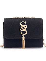 cheap -Women's Bags PU Leather Crossbody Bag Zipper Solid Color Leather Bag Daily Wine Black Silver