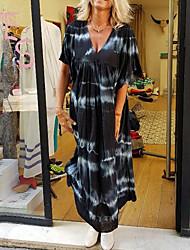 Недорогие -Жен. Платье A-силуэта Длинное платье - Рукав до локтя Узоры тай-дай Лето На каждый день 2020 Черный Синий M L XL XXL XXXL