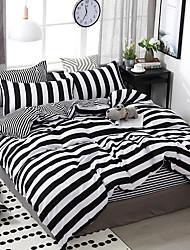 cheap -Duvet Cover Sets 4 Piece Polyester / Viscose Stripes / Ripples Black / White Printed Simple / 4pcs (1 Duvet Cover, 1 Flat Sheet, 2 Shams)