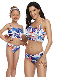 cheap -2 Piece Mommy and Me Active Sweet Blue & White Tropical Leaf Floral Color Block Graphic Backless Ruffle Print Sleeveless Short Above Knee Swimwear Blue