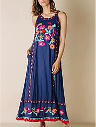 preiswerte -Damen A-Linie Kleid Maxikleid - Ärmellos Blumen Sommer Street Schick 2020 Blau Rote Grün Marineblau S M L XL XXL XXXL XXXXL XXXXXL