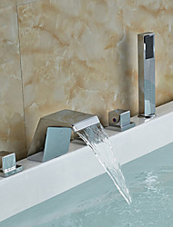 cheap -Bathtub Faucet - Contemporary Chrome Roman Tub Ceramic Valve Bath Shower Mixer Taps