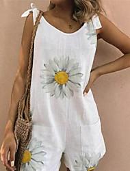 preiswerte -Damen Weiß Gelb Grün Jumpsuit Einteiler, Blumen S M L